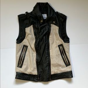 Bar III 100% Linen & Faux Leather Vest